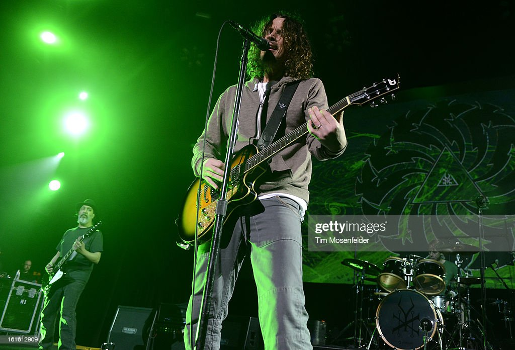 Kim Thayil, Chris Cornell, and Matt Cameron of Soundgarden perform in support the bands' King Animal release at The Fox Theatre on February 12, 2013 in Oakland, California.