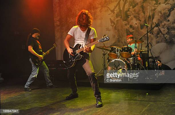 Kim Thayil Chris Cornell and Matt Cameron of Soundgarden perform on stage at Shepherds Bush Empire on November 9 2012 in London United Kingdom