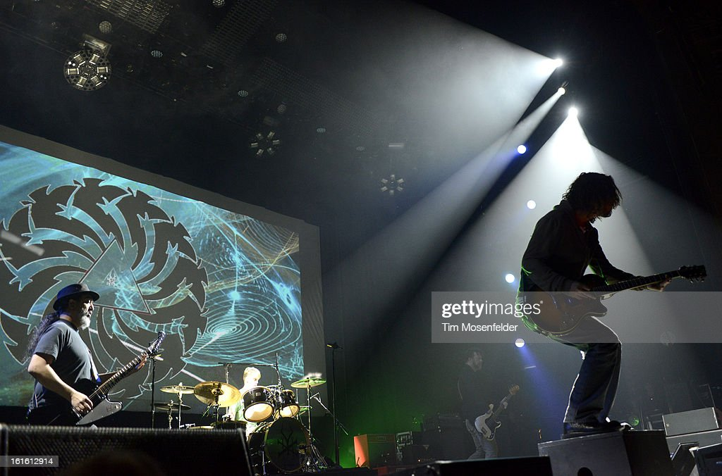 Kim Thayil, Chris Cornell, Matt Cameron, and Ben Shepherd of Soundgarden perform in support the bands' King Animal release at The Fox Theatre on February 12, 2013 in Oakland, California.