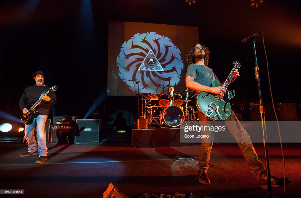 Kim Thayil, Matt Cameron and Chris Cornell of Soundgarden perform in concert at The Fillmore on January 27, 2013 in Detroit, Michigan.
