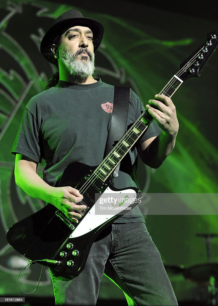 Kim Thayil of Soundgarden performs in support the bands' King Animal release at The Fox Theatre on February 12, 2013 in Oakland, California.