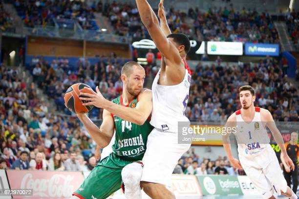 Kim Tillie #14 of Baskonia Vitoria Gasteiz in action during the 2016/2017 Turkish Airlines EuroLeague Playoffs leg 3 game between Baskonia Vitoria...