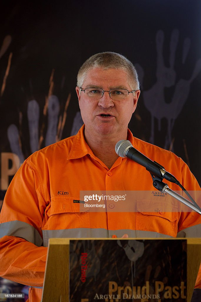 Kim Truter, managing director of the Argyle Diamond Mine, speaks during the opening ceremony of the company's underground expansion of the mine in Kimberley, Australia, on Tuesday, April 30, 2013. Production at Argyle, which supplies more than 90 percent of the world's pink diamonds, will rise to 20 million carats annually as production moves underground, while costs will fall. Photographer: Ian Waldie/Bloomberg via Getty Images