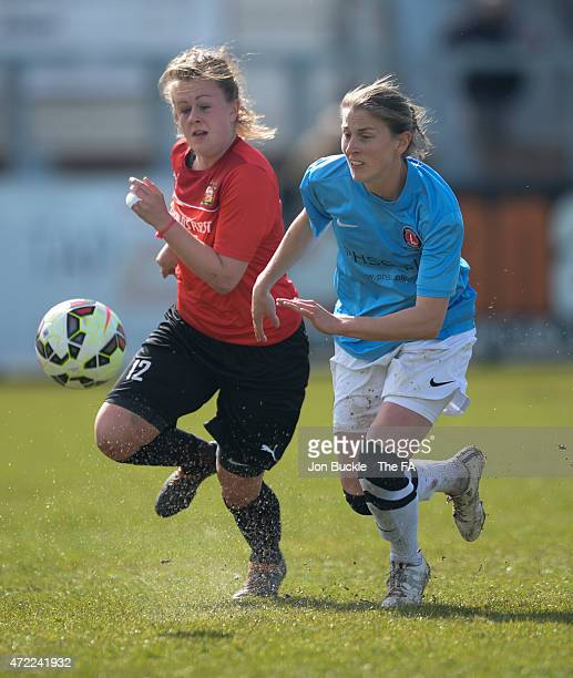 Kim Turner of Sheffield FC Ladies challenges Gemma Shepherd of Charlton Athletic Women's FC to the ball during the FA Women's Premier League Cup...