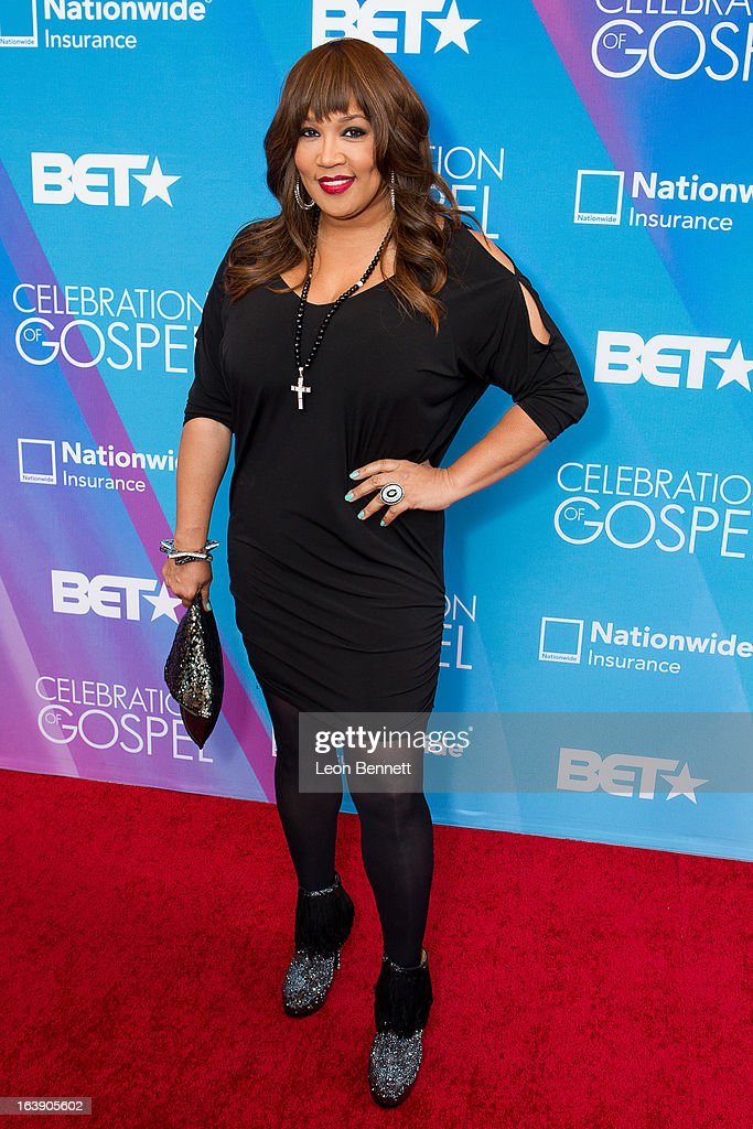 Kim Whitley arrives at the BET Network's 13th Annual 'Celebration of Gospel' at Orpheum Theatre on March 16, 2013 in Los Angeles, California.