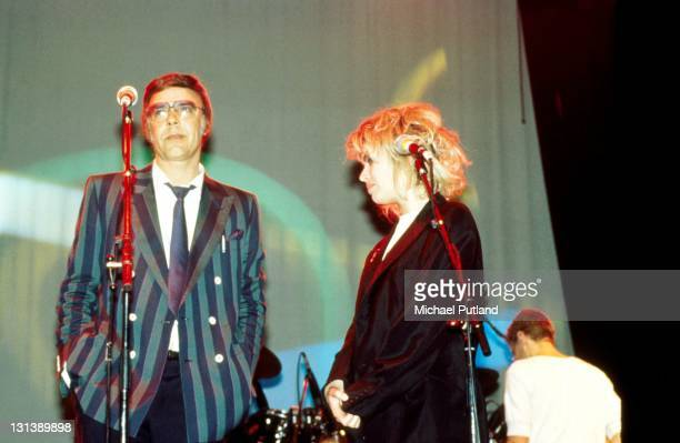 Kim Wilde and Marty Wilde perform on stage London circa 1985