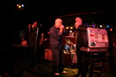 Kim Wilson of the Fabulous Thunderbirds is center stage between Mark Hummel and Charlie Musselwhite on the Harp Blowout Tour 2007 with Charlie...