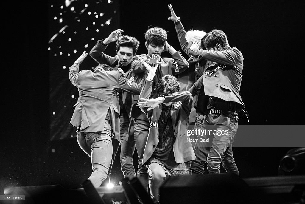 Kim Won-sik, Jung Taek-woon, Lee Hongbin, Cha Hak-yeon, Han Sang-hyuk, and Lee Jae-hwan of 'VIXX' perform at the 2015 K-Pop Festival at Prudential Center on August 8, 2015 in Newark, New Jersey.