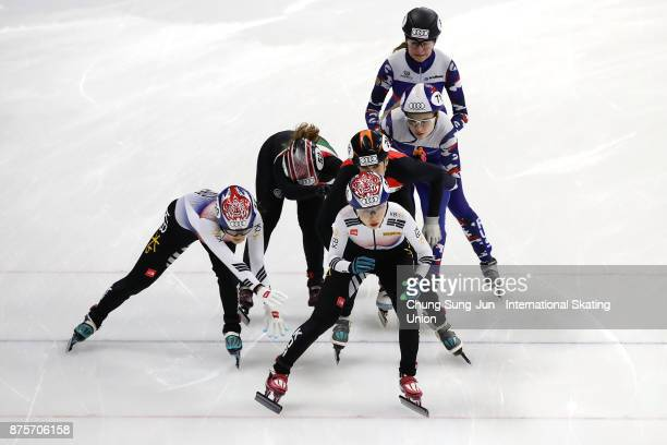 Kim YeJin and Lee YuBin of South Korea Andrea Keszler and Zsofia Konya of Hungary and Yulia Shishkina of Russia compete in the Ladies 3000m Relay...