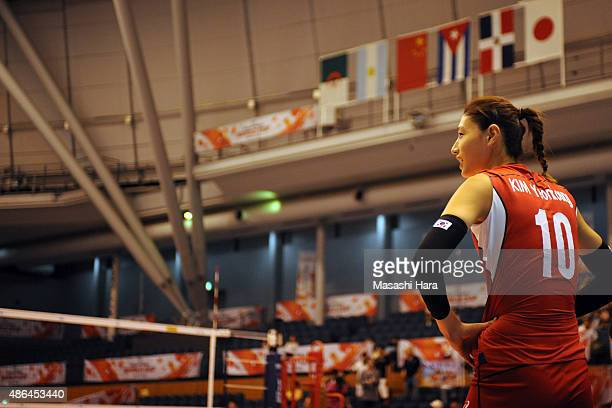 Kim Yeonkoung of Korea Republic looks on after the match between Kenya and South Korea during the FIVB Women's Volleyball World Cup Japan 2015 at...