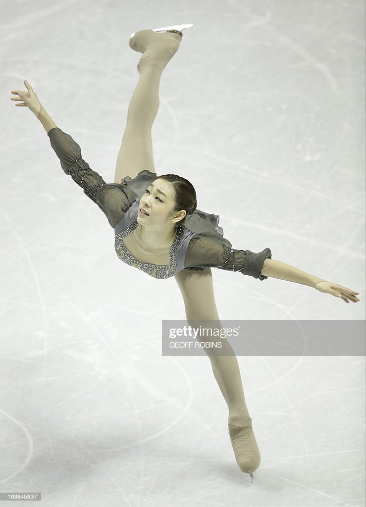 Kim Yn-na representing South Korea skates her free program in the women's competition at the 2013 World Figure Skating Championships in London, Ontario, March 16, 2013. AFP PHOTO/Geoff Robins