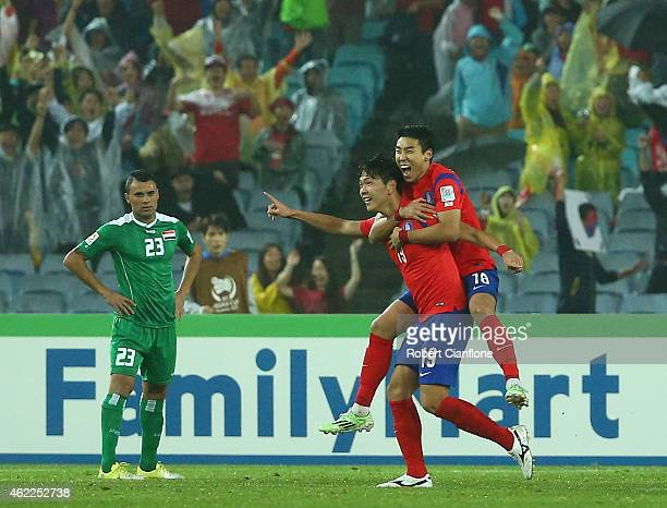 Kim Young Gwon of Korea Republic celebrates his goal with Lee Jeonghyeop during the Asian Cup Semi Final match between Korea Republic and Iraq at ANZ...