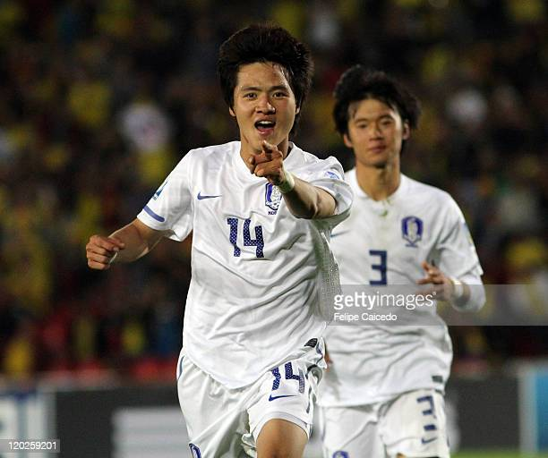 Kim Young Uk of Korea Republic celebrates after scores a goal against France during the FIFA U20 World Cup Colombia 2011 group A match between France...