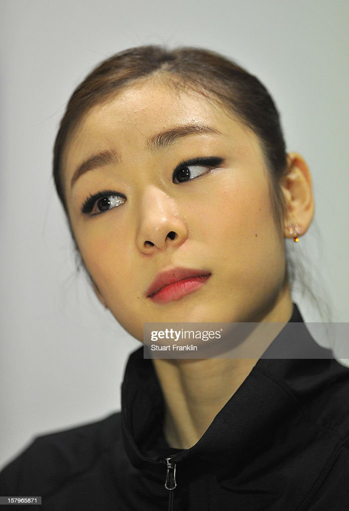 Kim Yuna of Korea ponders during her press conference after winning the senior ladies short program of the NRW trophy 2012 at Eissportzentrum on December 8, 2012 in Dortmund, Germany.