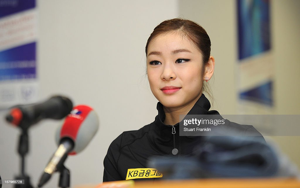 Kim Yuna of Korea talks with the media after winning the senior ladies short program of the NRW trophy 2012 at Eissportzentrum on December 8, 2012 in Dortmund, Germany.