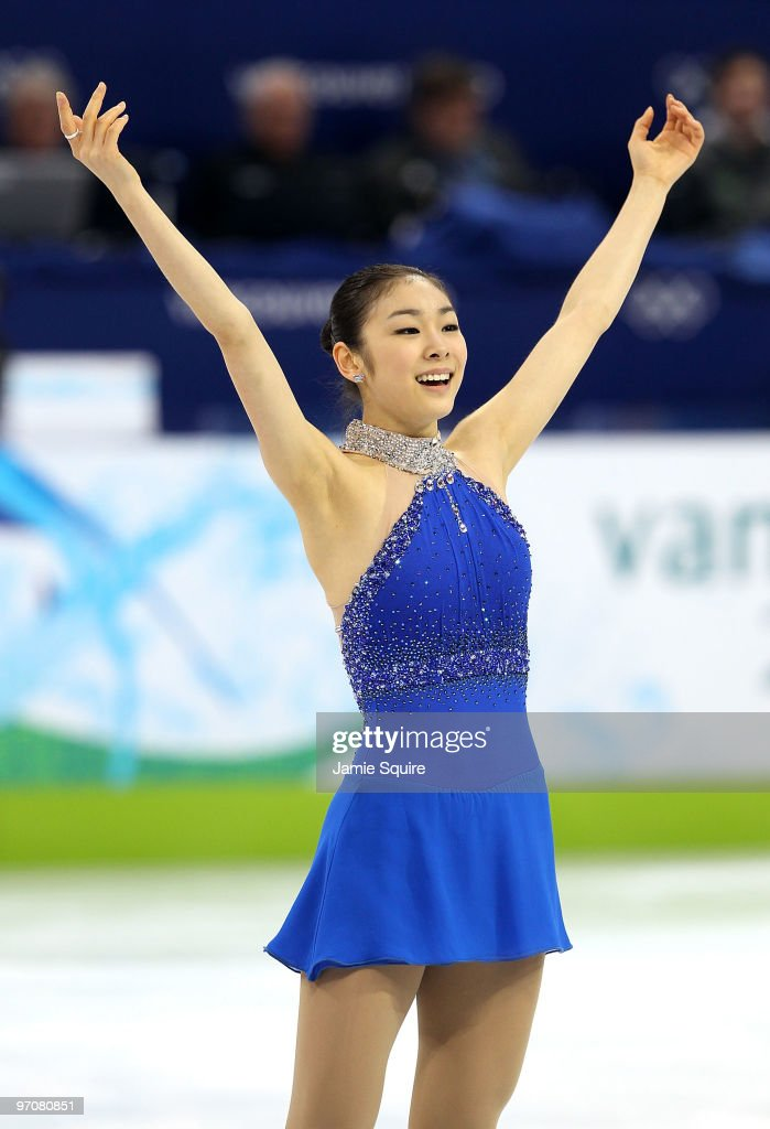 Kim YuNa of South Korea reacts after her skate in the Ladies Free Skating on day 14 of the 2010 Vancouver Winter Olympics at Pacific Coliseum on...