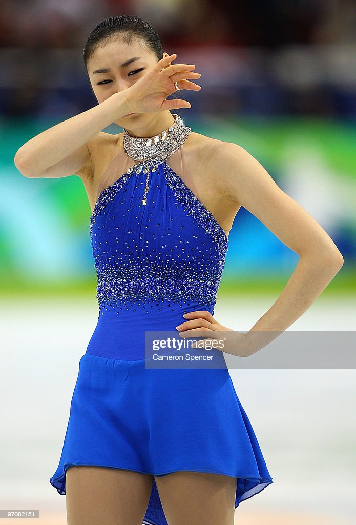 Kim YuNa of South Korea reacts after the Ladies Free Skating on day 14 of the 2010 Vancouver Winter Olympics at Pacific Coliseum on February 25 2010...