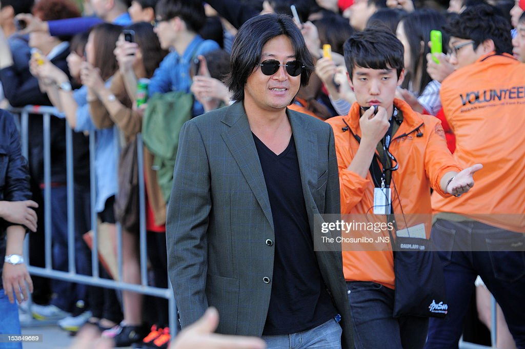 Kim Yun-Seok attends Outdoor Greeting of 'The Thieves' during the 17th Busan International Film Festival (BIFF) at the Haeundae Beach BIFF Village on October 7, 2012 in Busan, South Korea.