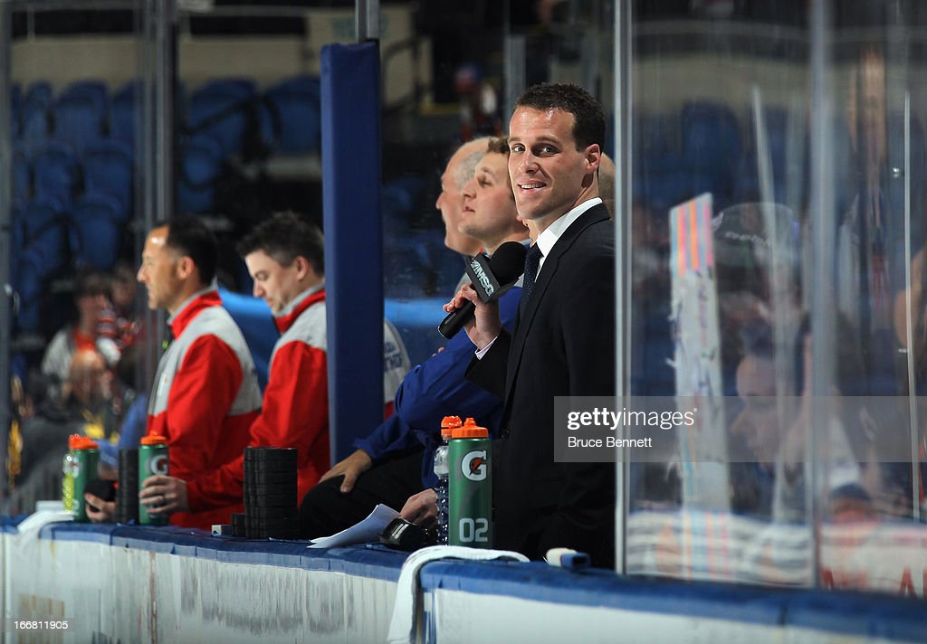 Kimber Auerbach, Director of Communications for the New York Islanders, watches practice prior to the game against the Florida Panthers at the Nassau Veterans Memorial Coliseum on April 16, 2013 in Uniondale, New York. The Islanders defeated the Panthers 5-2.