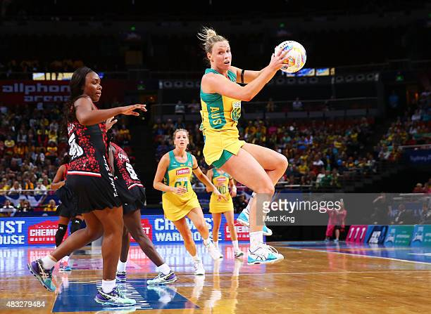 Kimberlee Green of the Diamonds catches the ball during the 2015 Netball World Cup match between Australia and Trinidad Tobago at Allphones Arena on...