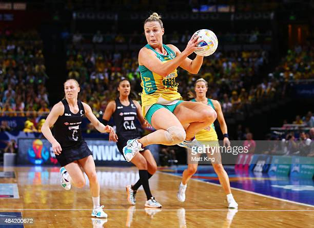 Kimberlee Green of the Diamonds catches the ball during the 2015 Netball World Cup Gold Medal match between Australia and New Zealand at Allphones...
