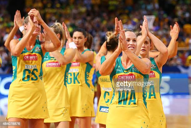 Kimberlee Green of the Diamonds celebrates with team mates after victory in the 2015 Netball World Cup Semi Final 2 match between Australia and...