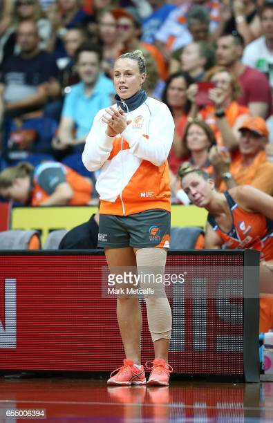 Kimberlee Green of the Giants cheers from the sideline after being injured during the round five Super Netball match between the Giants and the...