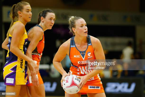 Kimberlee Green of the Giants in action during the round four Super Netball match between the Lightning and the Giants at University of the Sunshine...