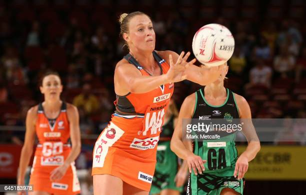 Kimberlee Green of the Giants passes during the round two Super Netball match between the Giants and the West Coast Fever at Qudos Bank Arena on...