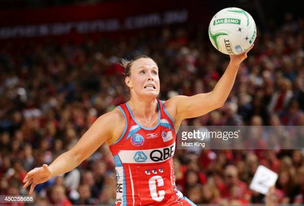 Kimberlee Green of the Swifts catches the ball during the ANZ Championship Minor Semi Final match between the Sydney Swifts and the Waikato Bay of...