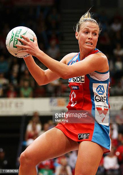 Kimberlee Green of the Swifts catches the ball during the ANZ Championship Semi Final match between the Swifts and the Mystics at Sydney Olympic Park...