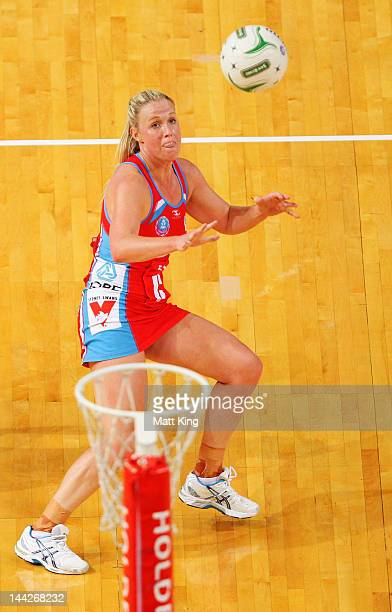 Kimberlee Green of the Swifts defends during the round seven ANZ Championship match between the Swifts and the Vixens on May 13 2012 in Sydney...