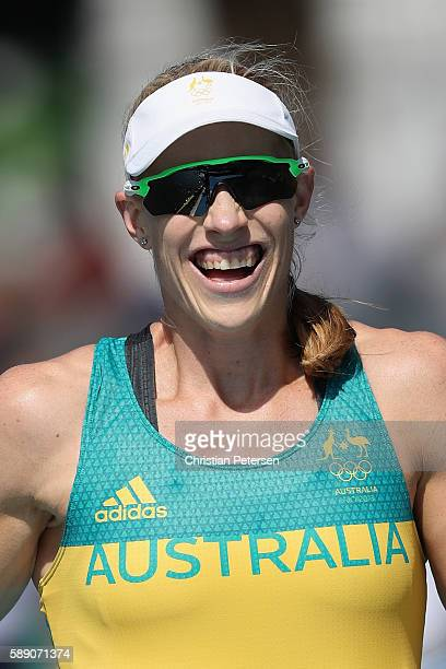 Kimberley Brennan of Australia celebrates winning the gold medal after the Women's Single Sculls Final A on Day 8 of the Rio 2016 Olympic Games at...
