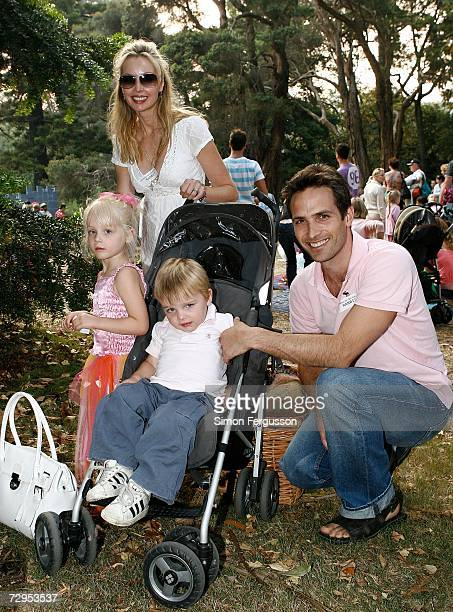 Kimberley Davies with Jason Harvey attend 'The Wind in the Willows' opening night in Melbournes Botanical Gardens on January 9 2007 in Melbourne...