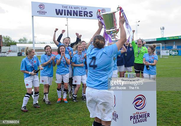 Kimberley Dixson of Charlton Athletic Women's FC lifts the FA Women's Premier League Cup between Sheffield FC Ladies and Charlton Athletic WFC at...