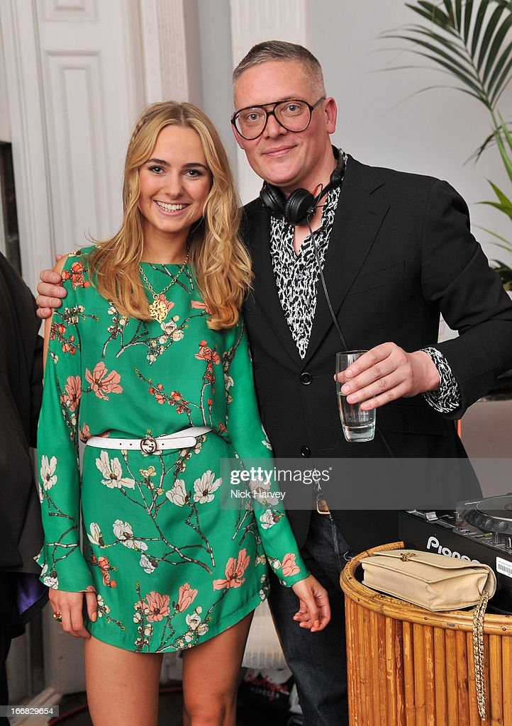 Kimberley Garner and Giles Deacon attend as Molton Brown and Giles Deacon launch a collaboration at the ICA on April 17, 2013 in London, England.