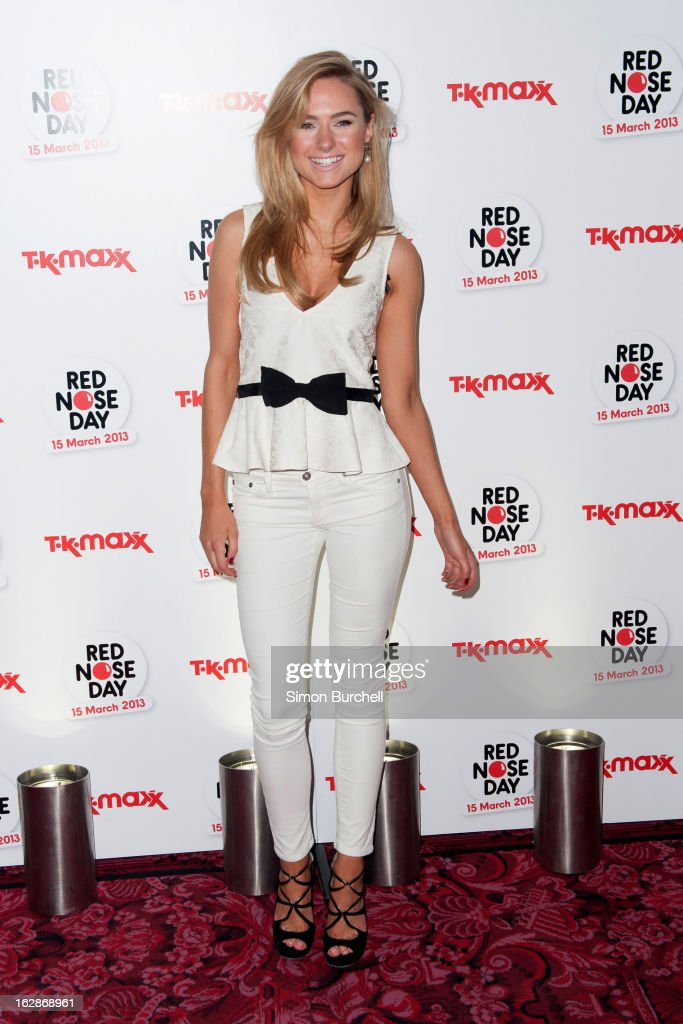 Kimberley Garner attends a fundraising cocktail party hosted by TK Maxx in aid of Comic Relief's Red Nose Day at The Royal Opera House on February 28, 2013 in London, England.
