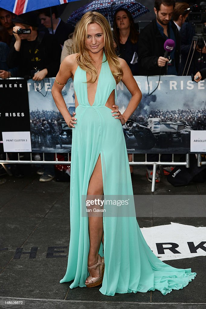 Kimberley Garner attends European premiere of 'The Dark Knight Rises' at Odeon Leicester Square on July 18 2012 in London England