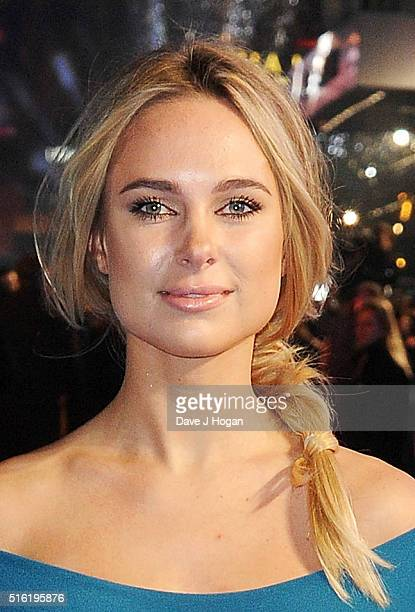 Kimberley Garner attends the European premiere of 'Eddie The Eagle' at Odeon Leicester Square on March 17 2016 in London England