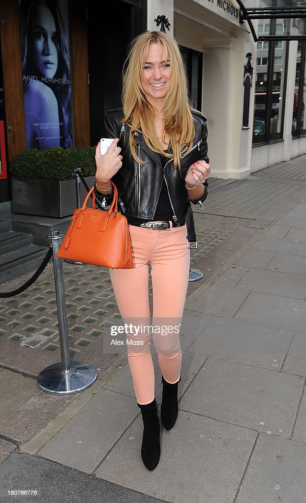 Kimberley Garner is seen leaving the Viva Forever afternoon tea launch at Harvey Nichols on February 5, 2013 in London, England.