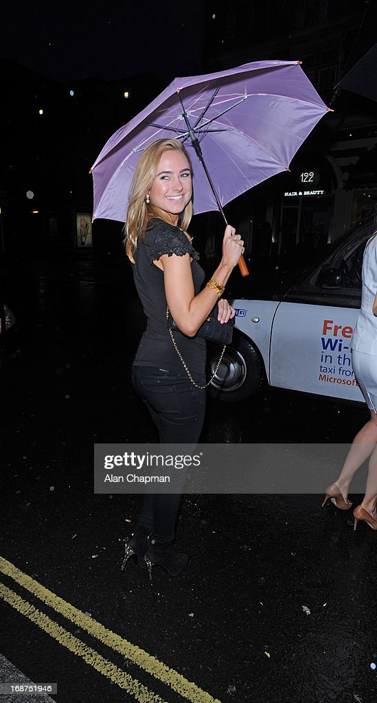 Kimberley Garner sighting leaving the Bulgari Hotel following the Marie Curie charity auction on May 14, 2013 in London, England.