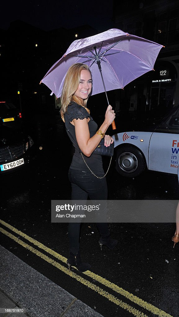 <a gi-track='captionPersonalityLinkClicked' href=/galleries/search?phrase=Kimberley+Garner&family=editorial&specificpeople=9081186 ng-click='$event.stopPropagation()'>Kimberley Garner</a> sighting leaving the Bulgari Hotel following the Marie Curie charity auction on May 14, 2013 in London, England.