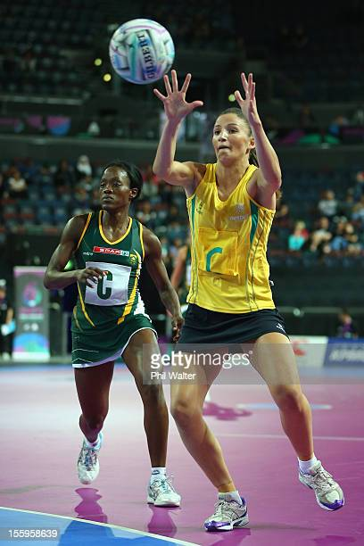 Kimberley Ravallion of Australia takes a pass in the match between Australia and South Africa during day two of the Fast5 Netball World Series at...