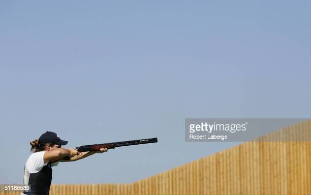 Kimberley Rhode of the USA competes during the women's double trap qualifying event on August 18 2004 during the Athens 2004 Summer Olympic Games at...