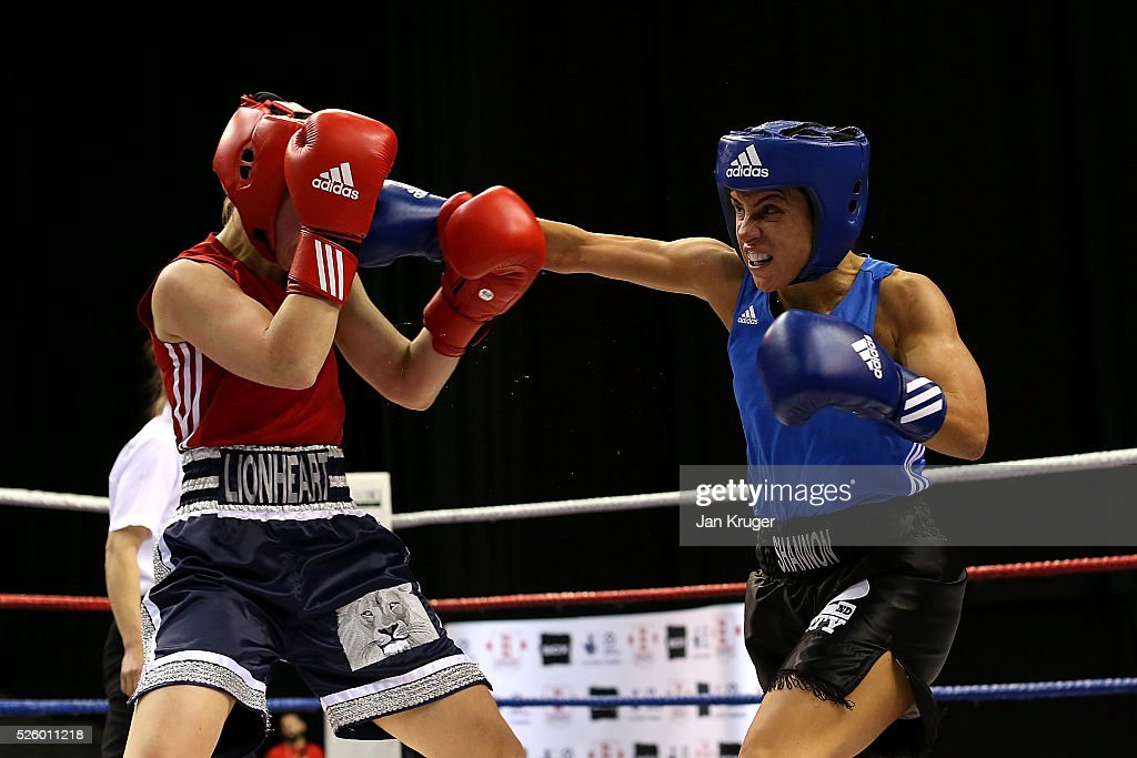 Kimberley Shannon(blue) in action against Lauren Parker in their 54kg fight during day one of the Boxing Elite National Championships at Echo Arena on April 29, 2016 in Liverpool, England.