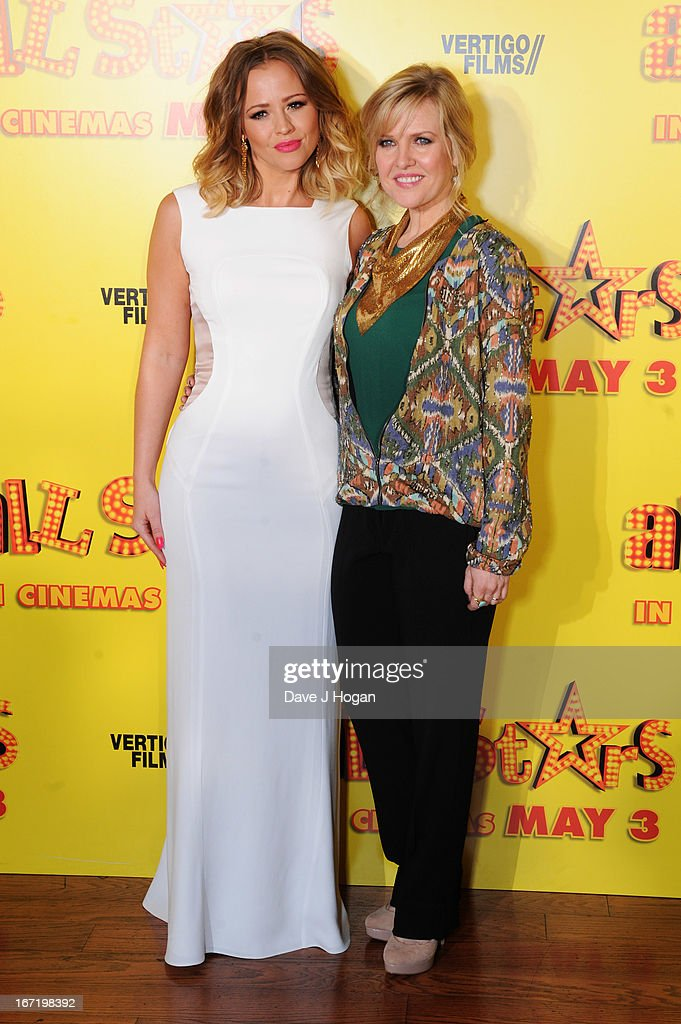 Kimberley Walsh and Ashley Jensen attend the UK premiere of 'All Stars' at The Vue West End on April 22, 2013 in London, England.