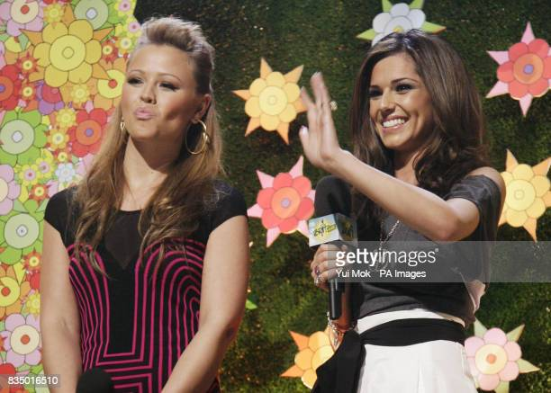 Kimberley Walsh and Cheryl Cole onstage during the Brit Awards shortlist announcement at the Roundhouse in London