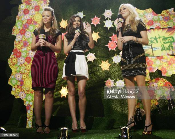 Kimberley Walsh and Cheryl Cole onstage with Fearne Cotton during the Brit Awards shortlist announcement at the Roundhouse in London