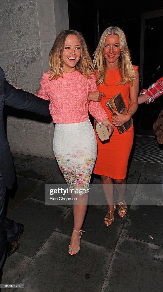 <a gi-track='captionPersonalityLinkClicked' href=/galleries/search?phrase=Kimberley+Walsh&family=editorial&specificpeople=202674 ng-click='$event.stopPropagation()'>Kimberley Walsh</a> and Denise van Outen sighting leaving STK Restaurant in The Strand on April 24, 2013 in London, England.