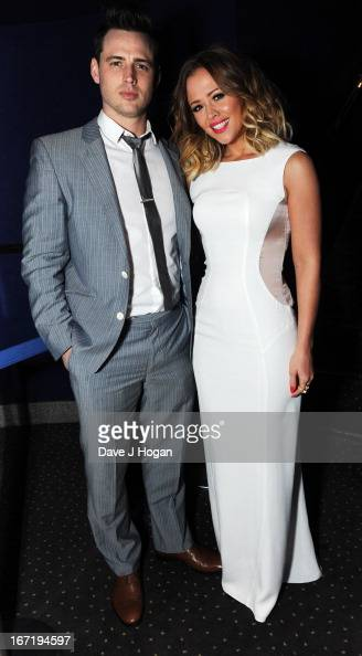 Kimberley Walsh and her brother Adam Walsh attend the UK premiere of 'All Stars' at The Vue West End on April 22 2013 in London England